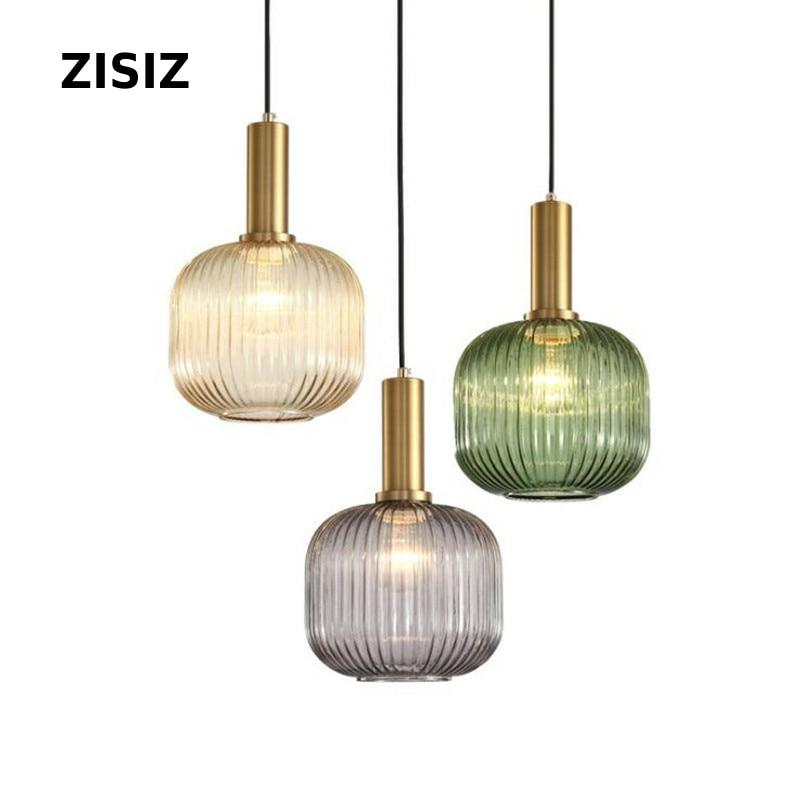 Luminaire suspendu lampe de pendentif LED en verre nordique pour cuisine chambre Simple luminaires suspendus d'intérieur lampe de chevet