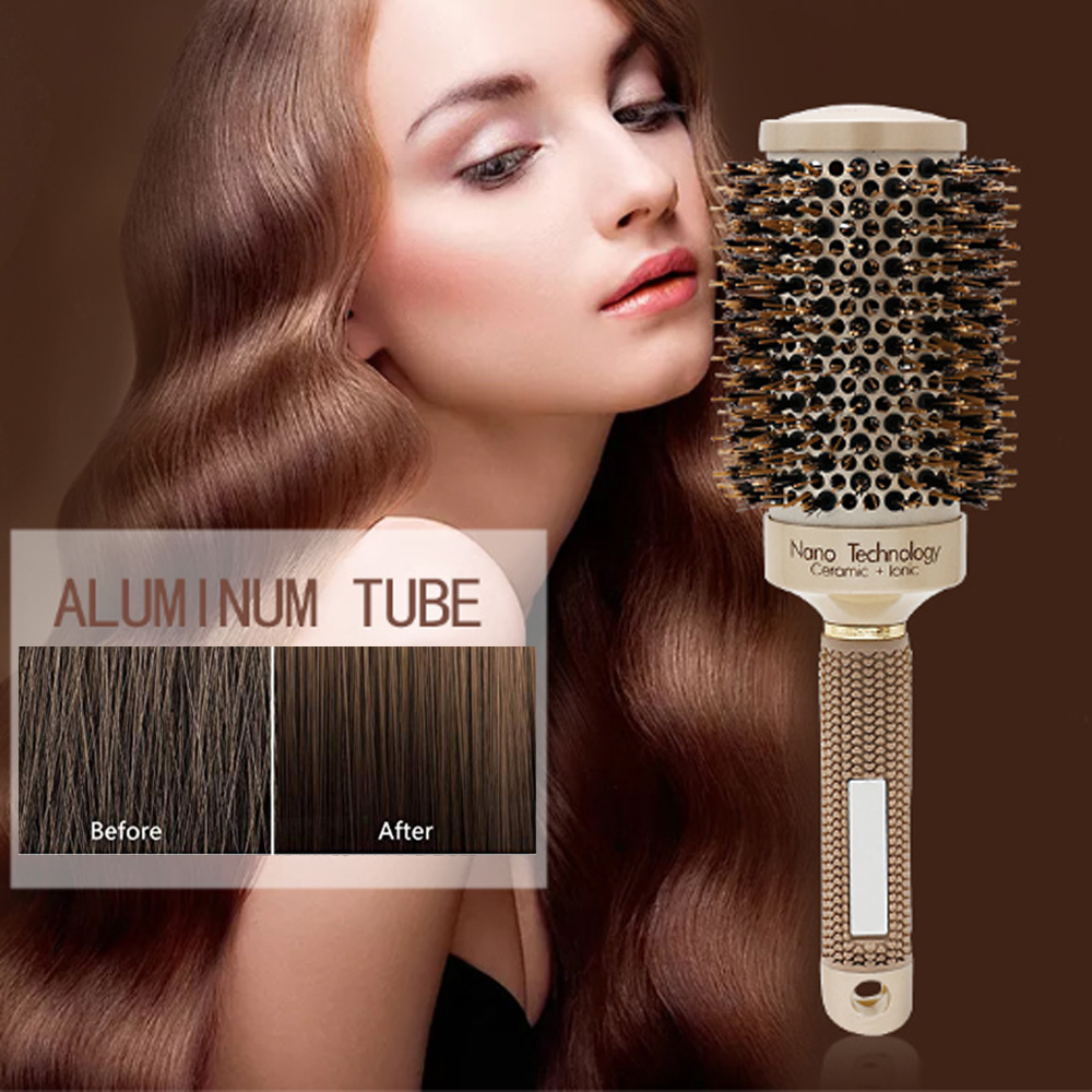 Round Brushes for Blow Drying Professional Anion Anti-static Large Hair brushesSalon Styling Comb Gold (4 size/set)