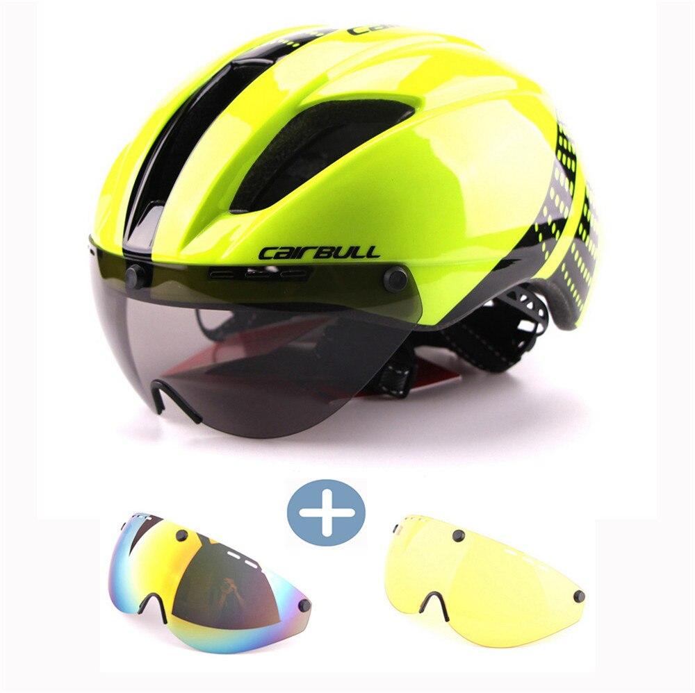 CAIRBULL 3 lentilles Aero vélo casque vélo de route sport sécurité casques équitation hommes contre la montre vélo lunettes casque vert M L