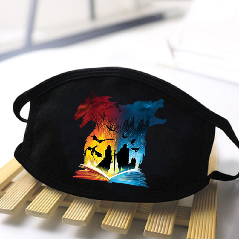 2020 New Game Of Thrones Anti Dust Masks Black Color Printing Mouth Muffle Respirator Men Washable Soft Face Masks Women Masque
