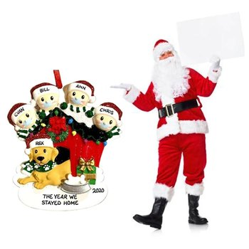 2020 Quarantine Christmas Party Decoration Gift Santa Claus With Mask Personalized Xmas Tree Ornament All Series dog home santa image