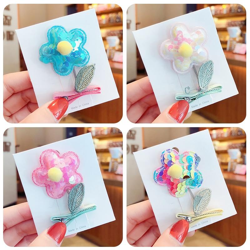 Girls Cute Candy Sequin Spring Hair Ball Flower Ornament Hair Clips Children Colorful Barrettes Hairpins Kids Hair Accessories