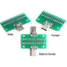 24P USB 3.1 type-c mâle femelle Test carte PCB adaptateur 2.54mm connecteur prise pour le transfert de données