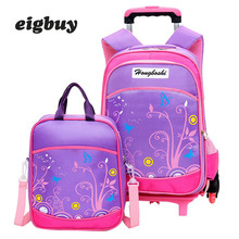 Children Wheeled School Bag Bags Set Kids Suitcase With Wheels Trolley Luggage Backpacks For Girls Boys Travel Trolley Backpack недорого