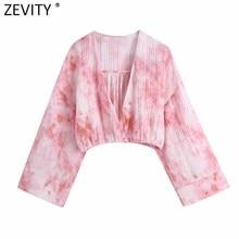 Zevity-Blusa de estilo Kimono con cuello de pico para mujer, camisa corta con estampado teñido, color rosa, Estilo Vintage, LS9281