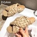 Eilyken/Коллекция 2021 года; Женские летние шлепанцы высокого качества с открытым носком на плоской подошве; Повседневные шлепанцы; Сандалии для ...