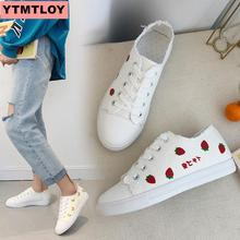 HOT ladies sneakers fashion charming vulcanized shoes 2019 Pu leather platform lace casual white