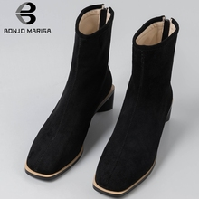 BONJOMARISA New 31-43 Brand Design Booties Ladies Fashion Square Toe Ankle Boots Women 2019 Med Heel Platform Shoes Woman