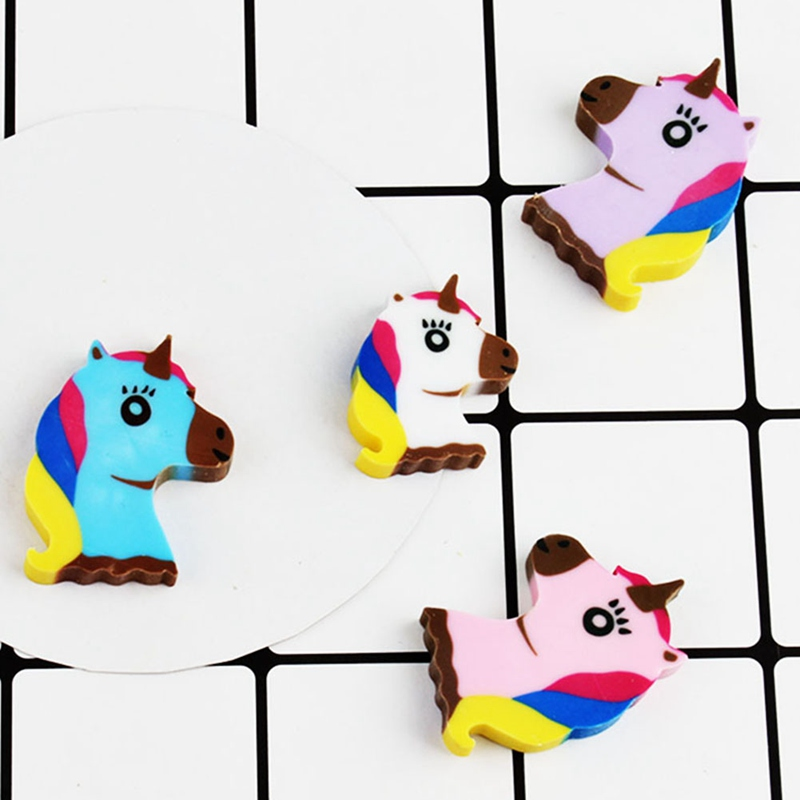 4pcs/lot Cartoon Creative Unicorn Pencil Eraser Kawaii Mini Animal For School Supplies Student Stationery Kids Prize Toys Gift