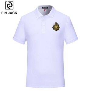 Image 5 - F.N.JACK Polo à manches courtes pour homme, modèle tendance classique en coton, couleur unie, été, décontracté