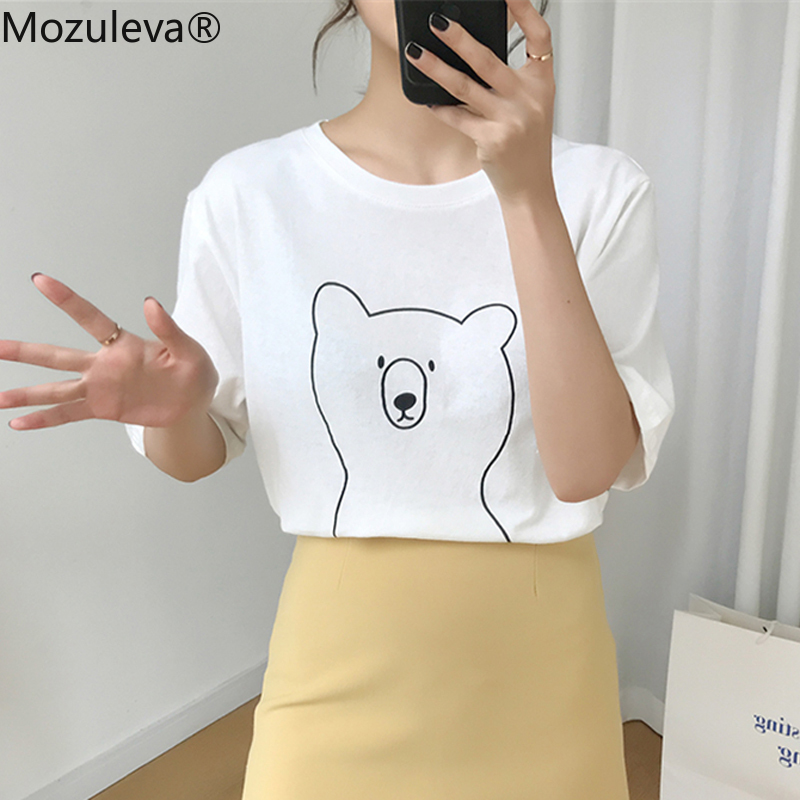 Mozuleva 2020 Chic Cartoon Bear Cotton Women T-shirt Summer Short Sleeve Female T Shirt Spring White O-neck Top Tees 100% Cotton 4