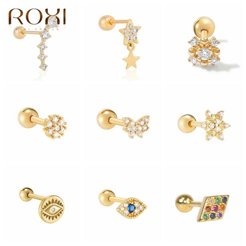 ROXI Ins с рисунком бабочек и цветов звезды глаза кристаллы, серьги со шпилькой, для Для женщин пирсинг серьги необычной 925 стерлингового серебр...