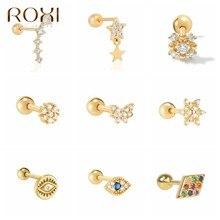 ROXI Ins – boucles d'oreilles papillon fleurs étoiles yeux, en cristal, pour femmes, Piercing, en argent Sterling 925