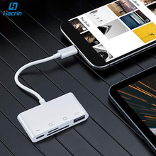 for lightning to sd tf card camera reader adapter compatible camera kit otg data cable needn t app for iphone apple ios 9 2 11 3 4in1 Lightning To USB TF Sd Card Reader OTG Cable Adapter Camera Connection Kit SD Card Reader For iPad iPhone 11 Pro XS XR 8 7