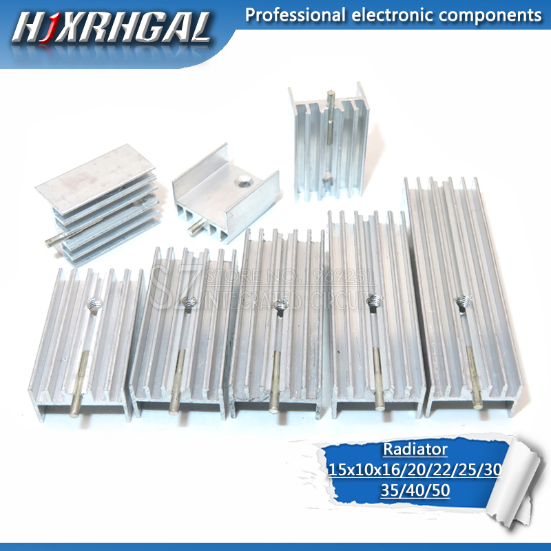 1pcs Aluminum Heatsink Radiator 15*10*16/20/22/25/30/40/50mm With Needle Hjxrhgal For Transistors TO220 White HJXRHGAL