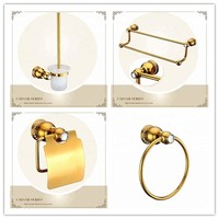 Luxury gold brass with crystal Bathroom Hardware Accessory Set towel ring paper holder Toilet brush Holder towel rack