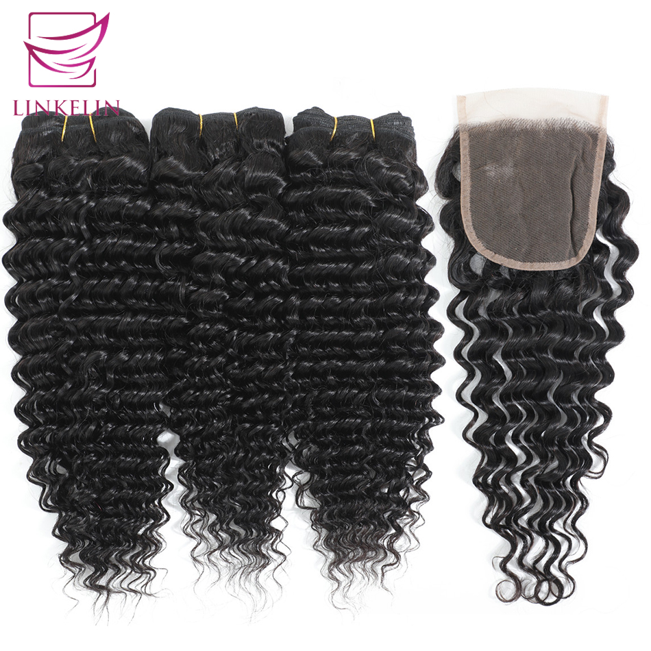 Deep Wave Bundles With Closure LINKELIN Hair Peruvian With Closure Human Hair Bundles With Frontal Hair Weave