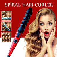 Professional Electric Hair Curlers Curl Ceramic Spiral Hair Curling Iron Roller Curling Wand Salon Hair Styling Tools Portable 5