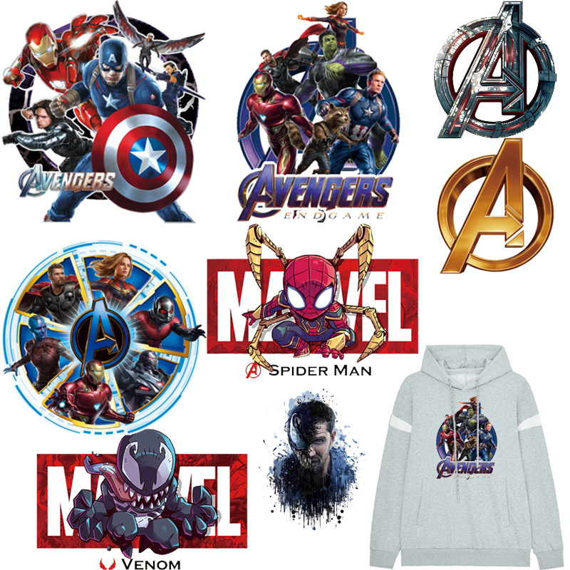 Prajna Anime Heat Transfer Vinyl Stickers Cartoon Spiderman <font><b>Marvel</b></font> Thermal Transfer The Avengers Iron On <font><b>Patches</b></font> <font><b>For</b></font> <font><b>Clothing</b></font> image