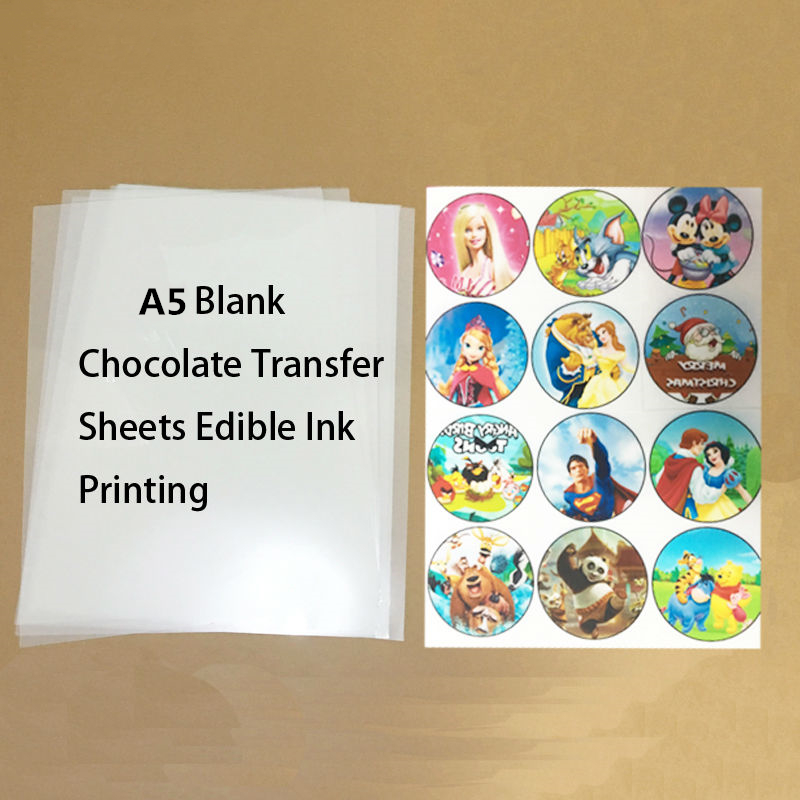Chocolate Transfer Sheets A5 Blank Cake Rice Paper For Food Prints Onto Chocolate Edible Ink Printing Wholesale Mold 10Sheet/lot