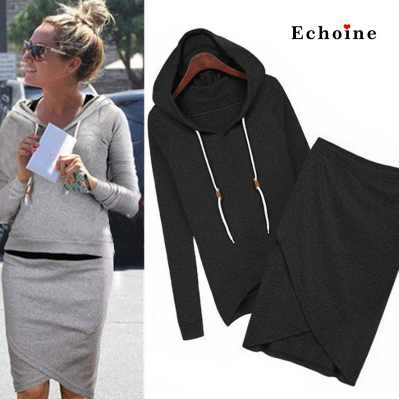 Echoine Winter Suits Women Soft Cotton Coat Warm Hoodie Long Sleeve 2 Piece Set Autumn Women Elastic Overlap Split Front Skirts