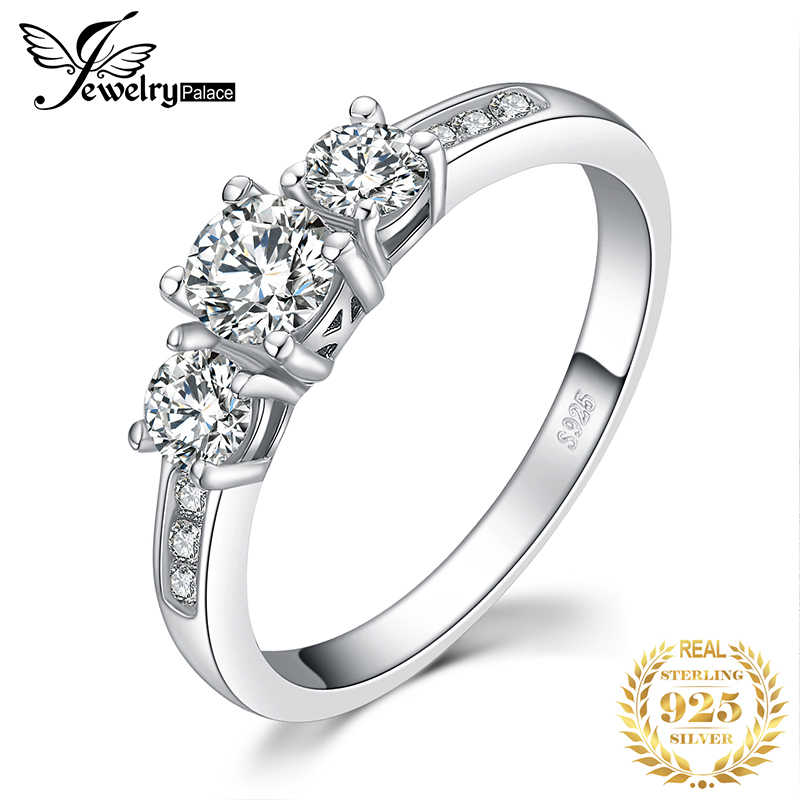 JewelryPalace 3 piedra 1.3ct Cubic Zirconia Engagement Wedding Promise anillo plata 925