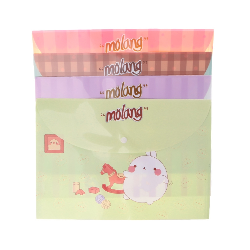 Cute Cartoon File Bag PVC Snap Type A4 File Folder Bag Document Organizer Stationery Pouch Creative Office Stationery