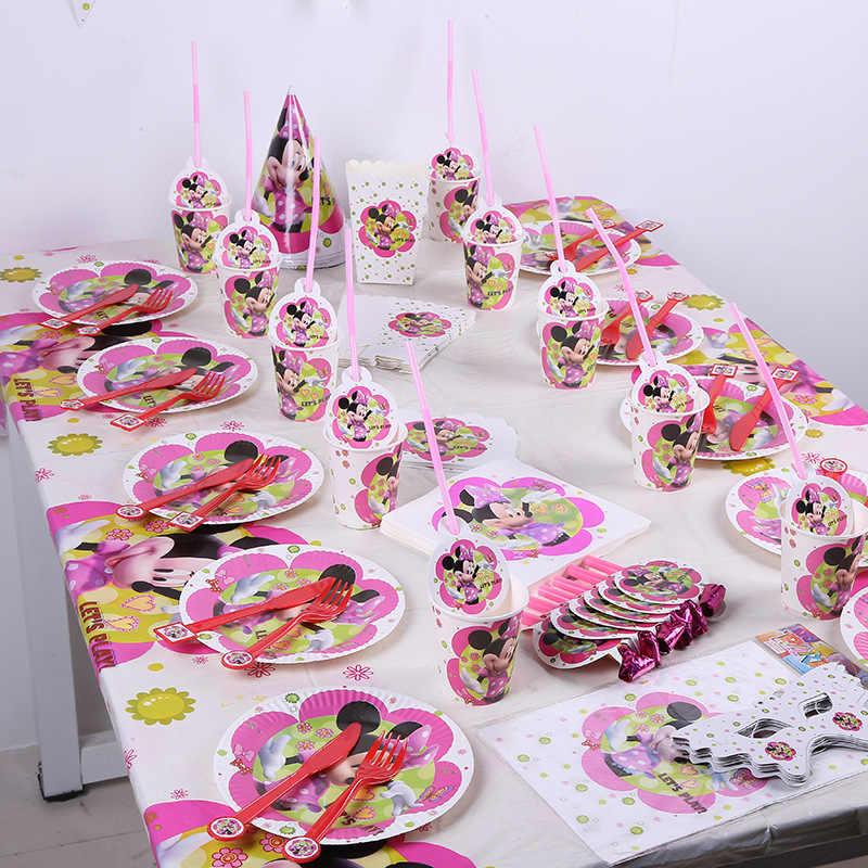 Conjunto de decoración para fiesta de cumpleaños de Minnie Mouse niñas niños suministros de fiesta de Mickey taza de paja plato tenedor bebé fiesta de cumpleaños paquete