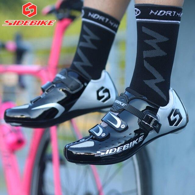 Sidebike calçado de ciclismo de estrada masculino, sapato de bicicleta de corrida automática com fecho para atletismo e ultraleve, preto 5