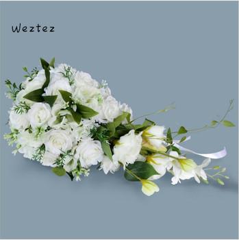 Wodospad białe kwiaty ślubne bukiety ślubne sztuczne bukiety ślubne akcesoria do dekoracji SPH80 tanie i dobre opinie WEZTEZ NYLON 30cm 23cm 0 65kg SP-136 55cm Bukiet ślubny bridal bouquet wedding bouquet