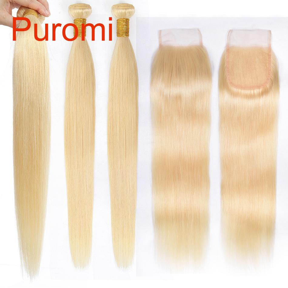 Puromi 613 Honey Blonde Bundles With Closure 4*4 Free Part Malaysian Remy Straight Human Hair With Closure Free Shipping image