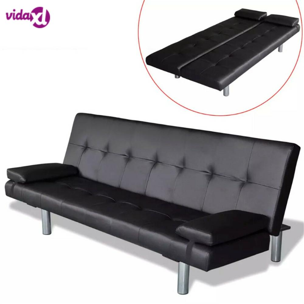 vidaXL Adjustable Sofa Bed with 2 Pillows Synthetic Leather Modern Design Sofa Bed Furniture Living Room Reclining Folding Sofa image