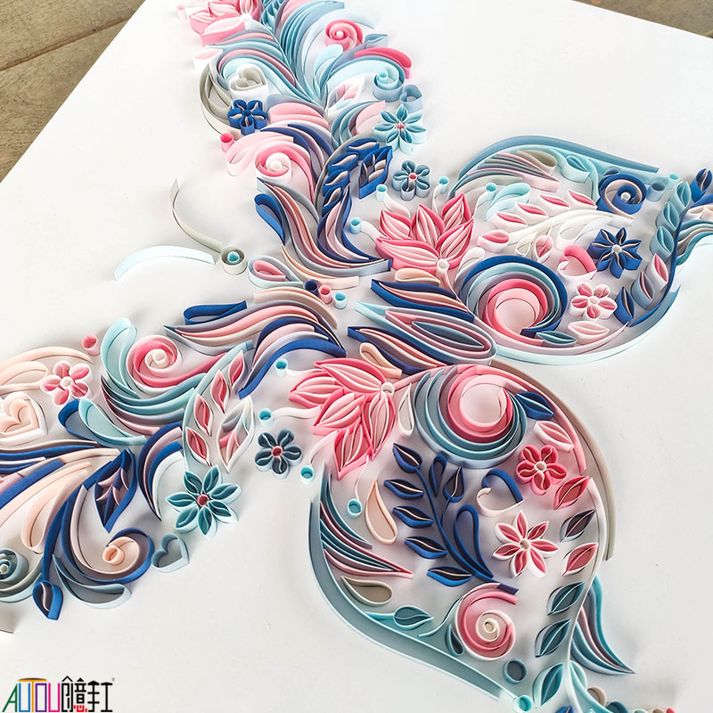 20 inch butterfly quilling illustration material package DIY creative slot craft paper handmade decoration gift paper draft 4