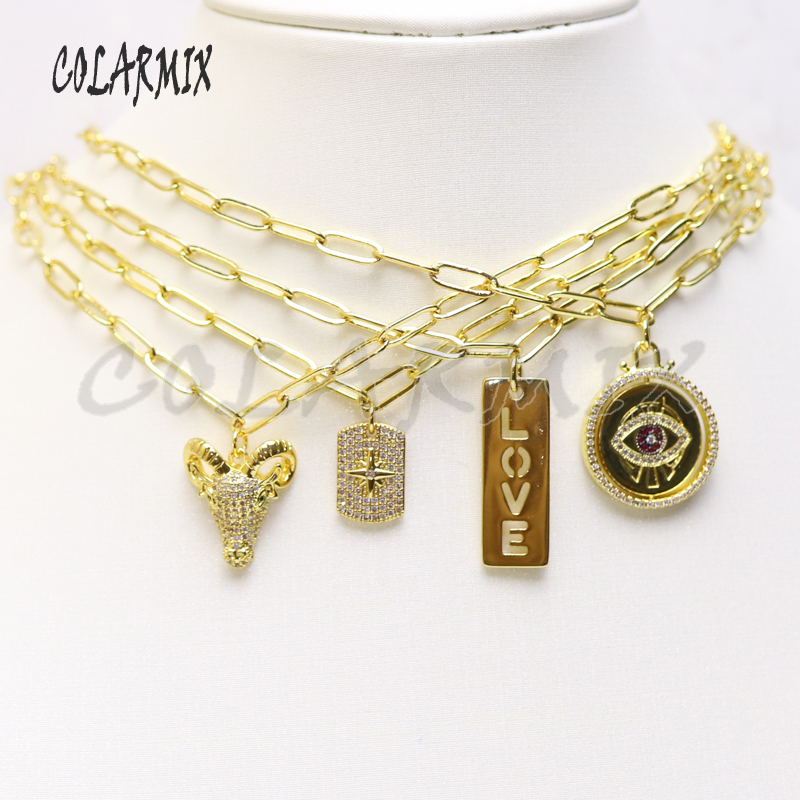 5 pieces Multi pendants choker necklace link chain necklace zircon charm jewelry letters necklace for women <font><b>51005</b></font> image