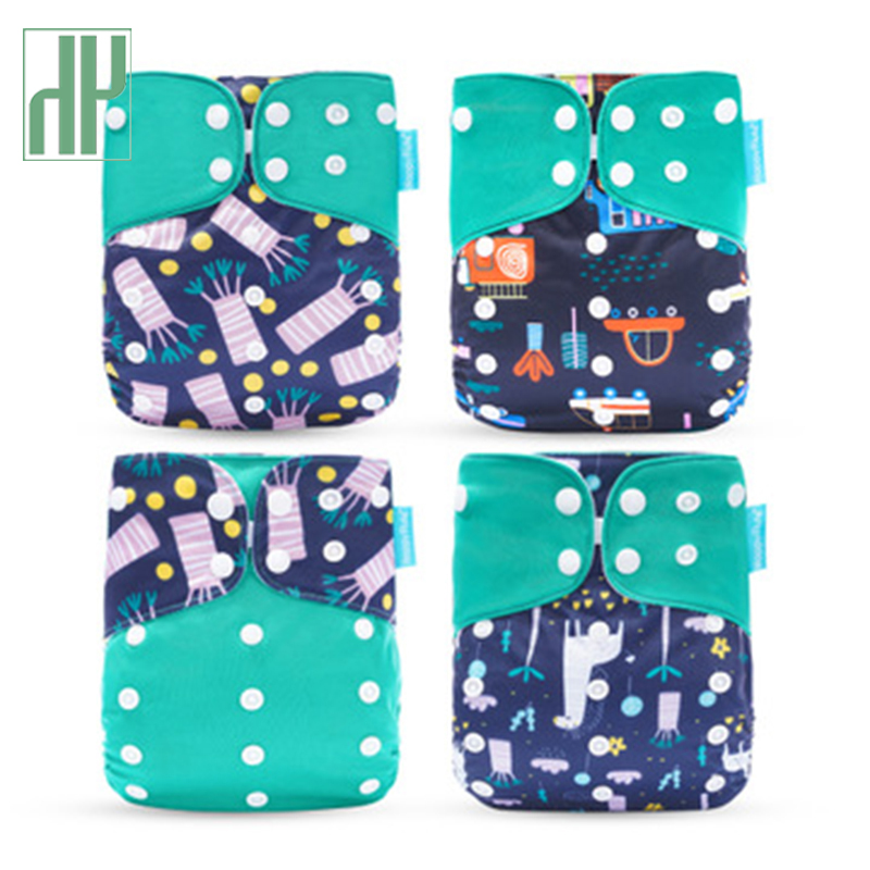 New 4-Piece Baby Washable Diaper Eco-Friendly Cloth Diaper Adjustable Nappy Reusable Cloth Diapers Baby Urine Pocket
