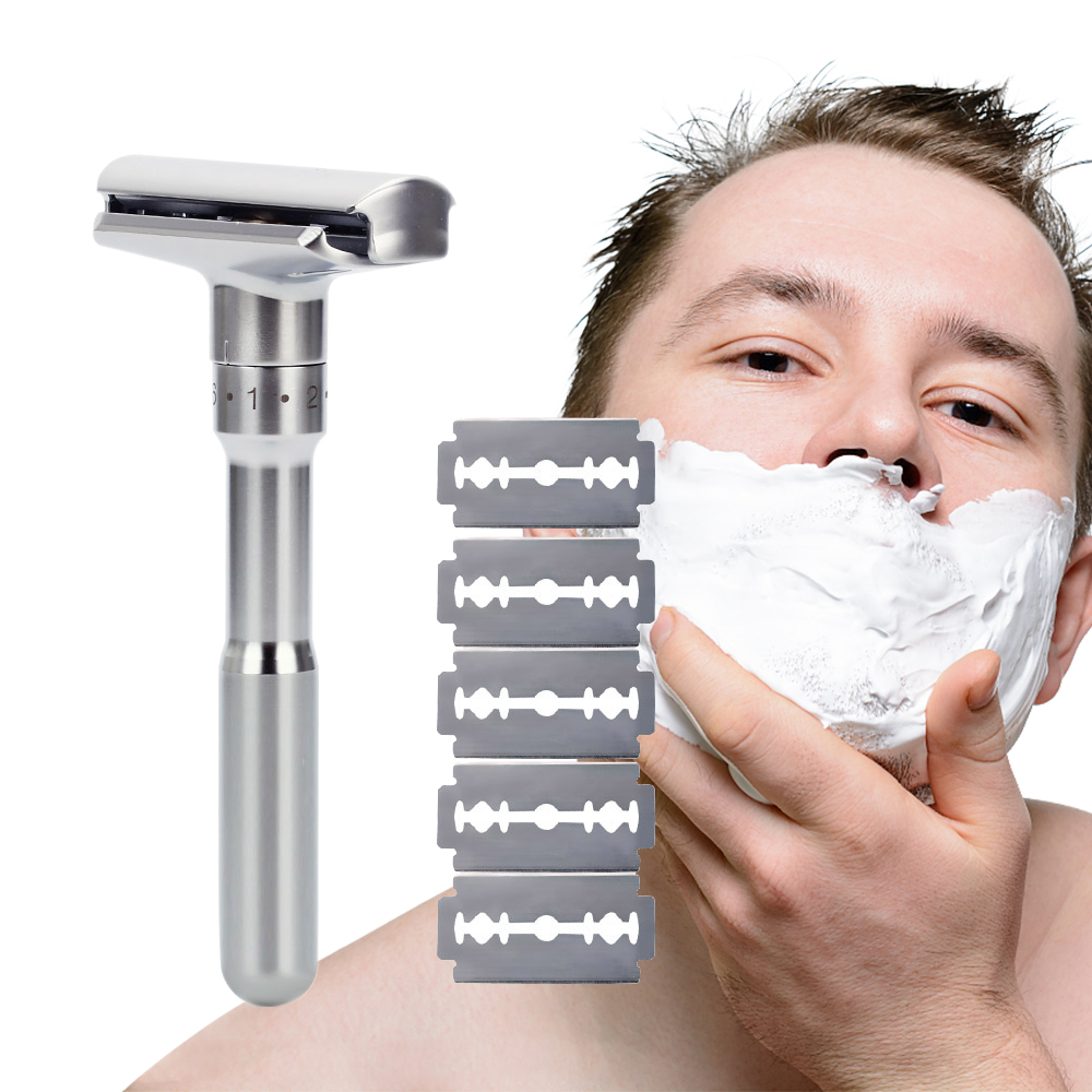 Adjustable Safety Razor Double Edge Classic Mens Razor Shaving Razor Blades 1-6 File Hair Removal Shaver With 5 Blades
