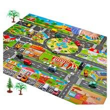 2 サイズベビーキッズプレイマット市道建物駐車マップゲームシーンおもちゃの車マップ子供のためのゲームマット