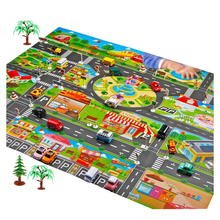 Dois tamanhos, bebê, crianças, jogar, tapete, cidade, edifícios, estacionamento, mapa, jogo, cenário, brinquedo, mapa para crianças, tapete, jogo