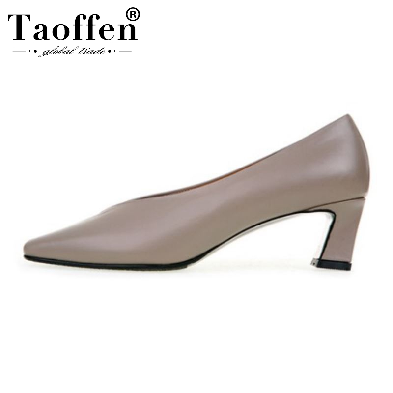Taoffen Spring Dress Pumps Women Real Leather High Heel Shoes Women Party Pointed Toe Office Ladies Pumps Footwear Size 34-39