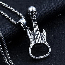 HNSP 316L stainless steel chain skull guitar pendant necklace for men punk jewelry male vintage 316l stainless steel skull skeleton necklace pendant for motorcycle party punk gem necklace hip hop men jewelry