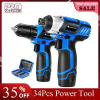 PROSTORMER 12V Electric Cordless Screwdriver Drill 100NM Torque Electric Drilling Machine Mini Hand Drill Wireless Power Tool