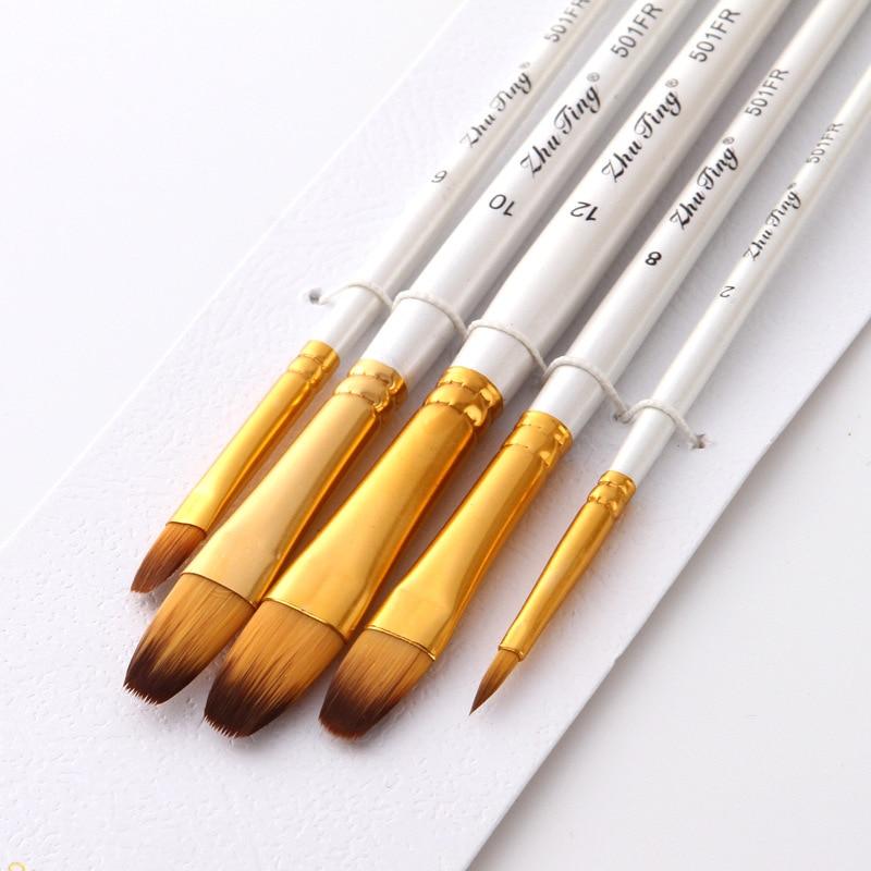 5Pcs/set Nylon Watercolor Gouache Acrylic Paint Brush Set Golden Tube White Rod Pointed Flat Head Paint Brushes Art Supplies