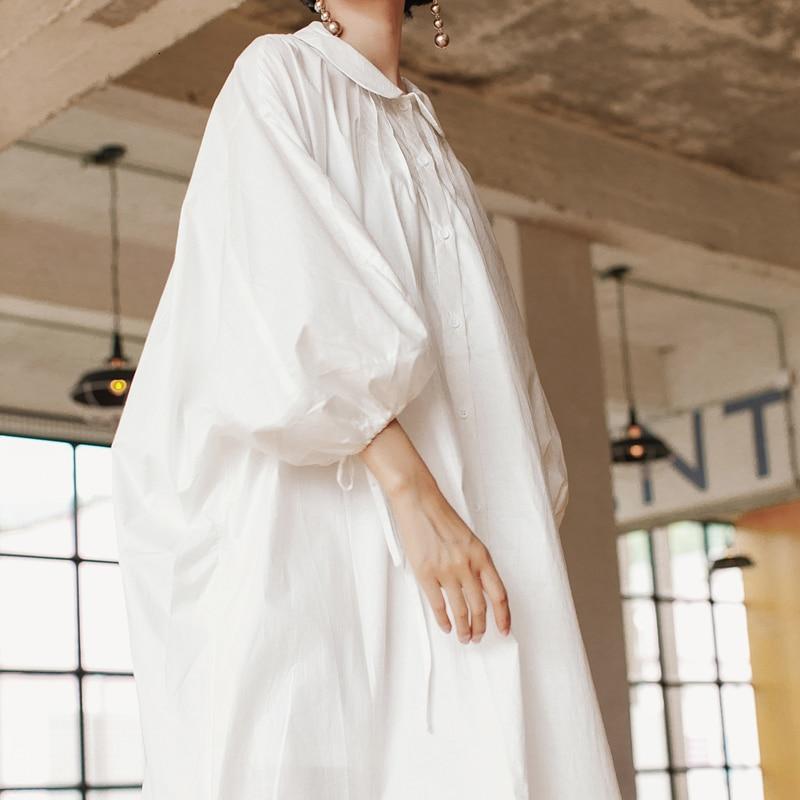 LANMREM 2020 New Summer And Autumn Fashion Lantern Sleeves Batwing Styles Peter Pant Collar Loose Shirt Dress Female WG85200