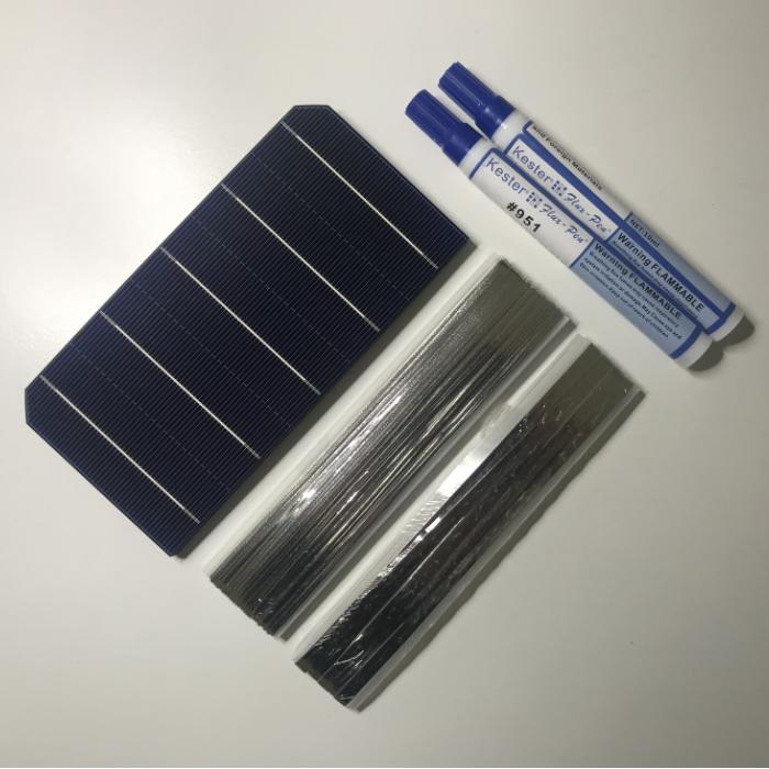 ALLMEJORES DIY <font><b>12V</b></font> <font><b>100W</b></font> <font><b>solar</b></font> <font><b>panel</b></font> kits Monocrystalline <font><b>solar</b></font> cells 40pcs/Lot with enough tabbing wire and busbar + flux pen image