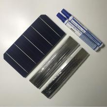 ALLMEJORES kits de paneles solares de 12V y 100W, células solares monocristalinas, 40 unidades/lote, con suficiente cable de tabulación y Barra colectora + pluma fundente