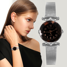 Womage Women Watches Casual Ladies Luxury Fashion Geometric Surface Watch Steel Mesh Band Womens Montre Femme