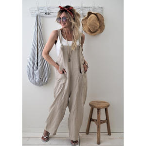 Jumpsuit Loose Rompers Overalls Linen One-Piece Cotton Strap High-Quality Casual Solid