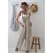 Summer Jumpsuit Cotton Linen High Quality Jumpsuit Loose Wom