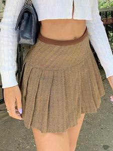 Mini Short Skirt Heyoungirl Khaki Autumn Preppy-Style High-Waisted Womens Ladies Pleated
