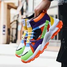 Осенние модные мужские кроссовки с высоким берцем желтой подошвой;